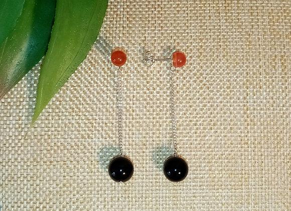 Boucles d'oreilles Argent Agate rouge Onyx