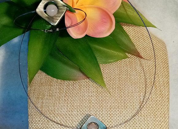 Parure losange Nacre et Quartz rose