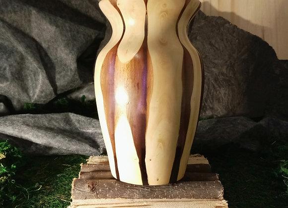 Vase en Buis et résine irisée mauve