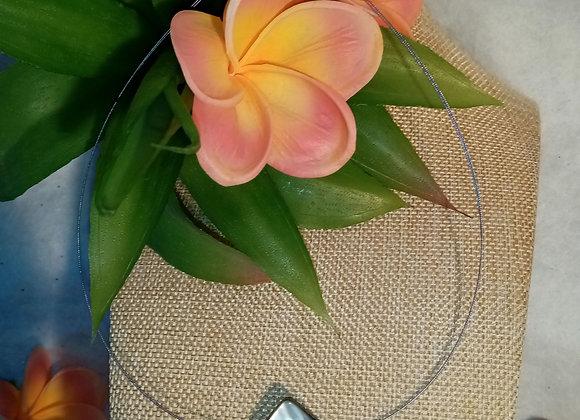 Collier câble Quartz rose et Nacre