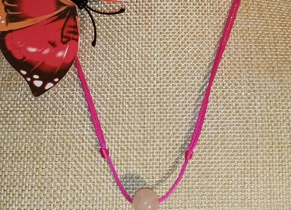 Collier cordon réglable Quartz rose