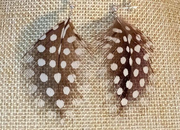 Boucles d'oreilles Argent et Plume de pintade