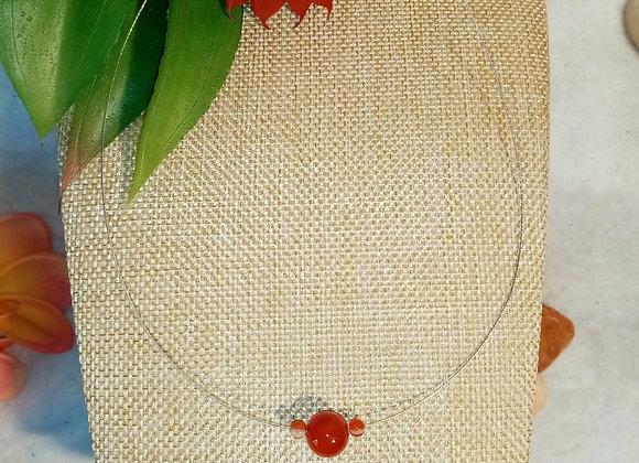 Collier câble Agate rouge
