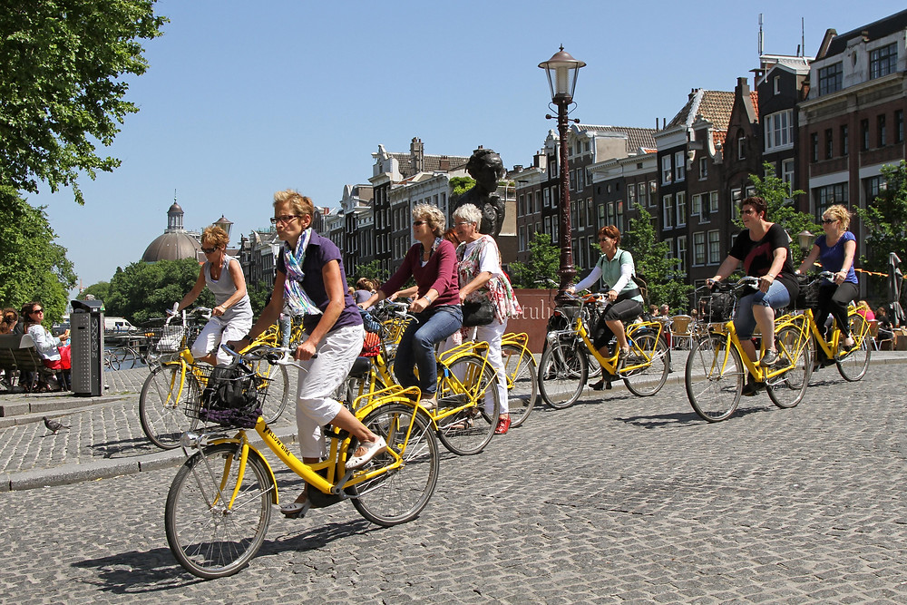 Group of cyclists in Amsterdam.