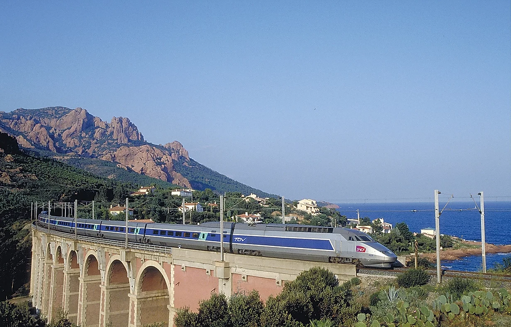 High speed TGV train along the coast of the South of France