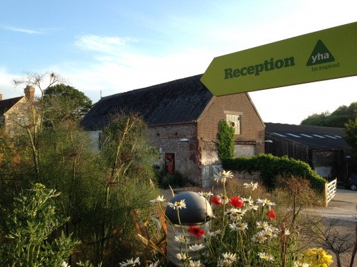 YHA signpost to reception, South Downs
