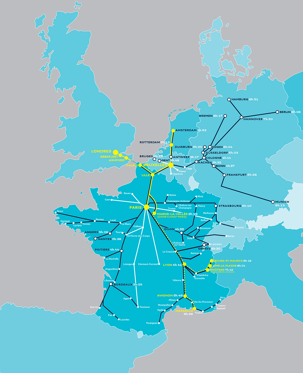 Map of Eurostar's train routes in Europe