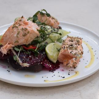 DSCF4103 Salmon dish at cafe at Goulandr