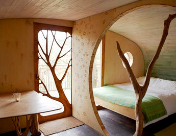 Bedroom at the Living Room Treehouse, Powys