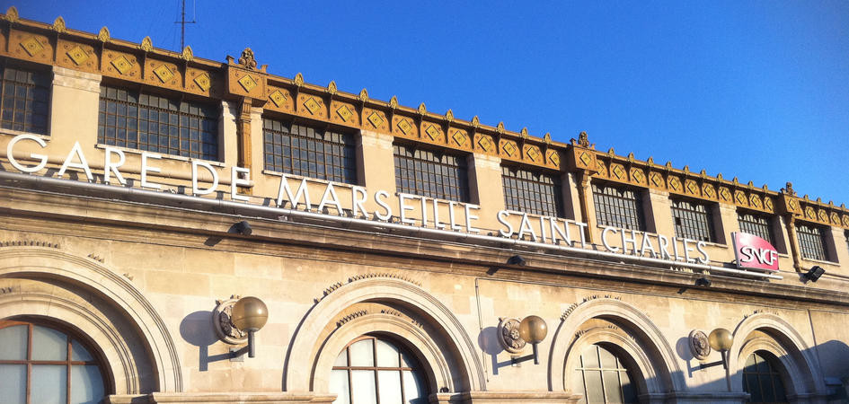 The majestic facade of Marseille Saint-Charles station.