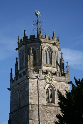The spire at St. Andrew's Church in Colyton, East Devon