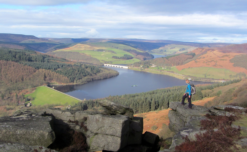 Walker in the Peak District looking at reservoir
