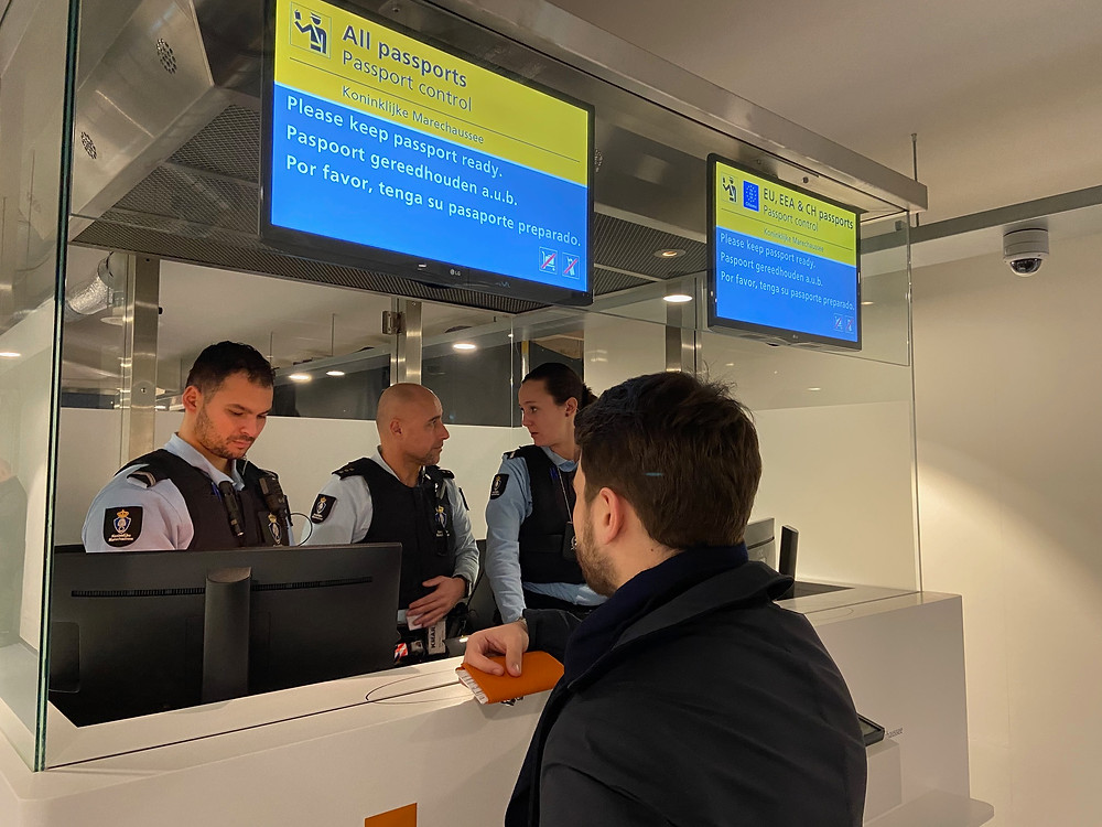 Passport control at Amsterdam Centraal railway station.