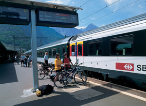 Cyclists waiting to board a train in Switzerland