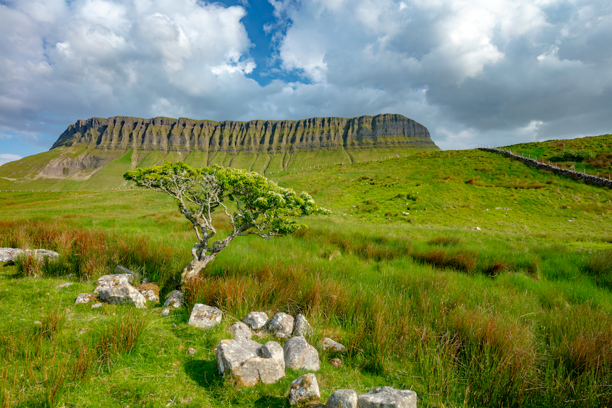 The large flat-topped rock formation of Benbulben, County Sligo, Ireland