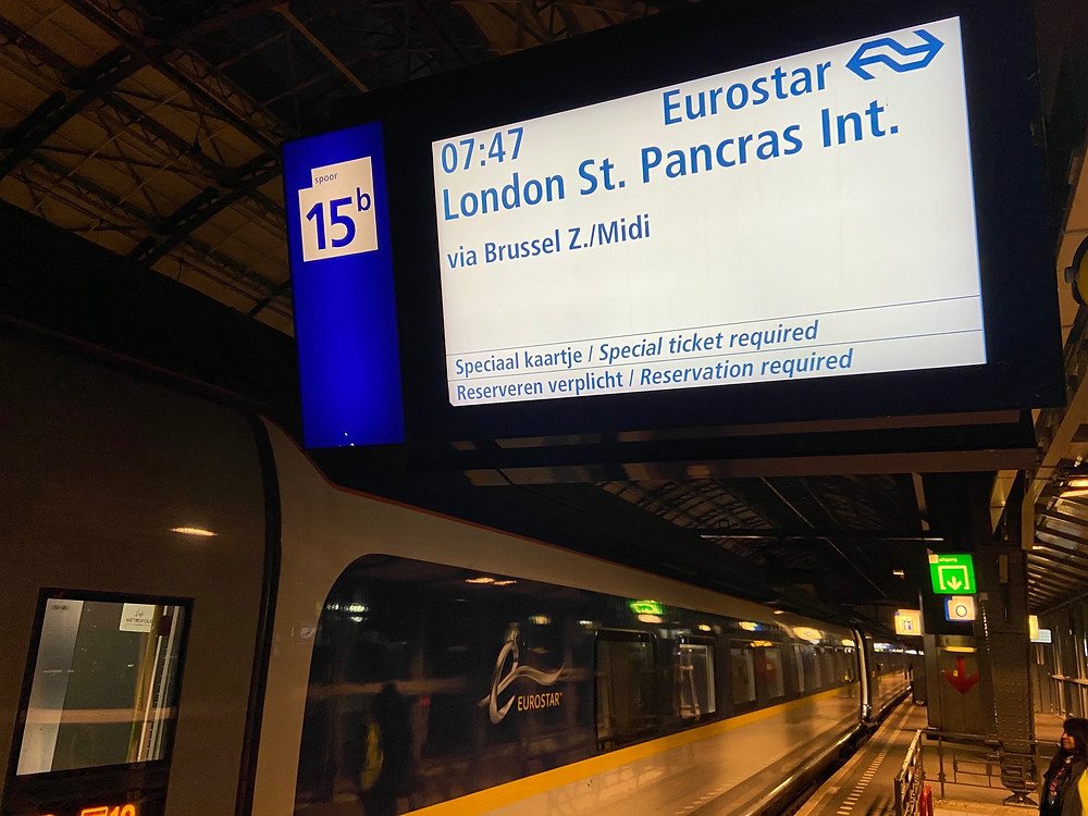 Platform sign for new Eurostar service from Amsterdam