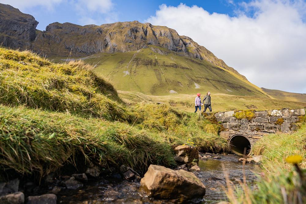 Walkers exploring the Gleniff Horseshoe, County Sligo.