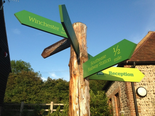 Signpost at YHA South Downs