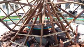 Milagre em dia de São Francisco: quiosque desaba em praça de Macambira