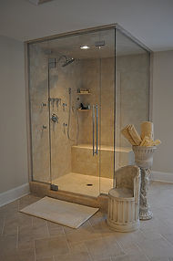 Custom Shower with Custom Glass Enclosure/Door