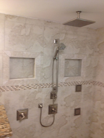 Custom Walk-In Shower with Body Spray and Rainfall Shower Head