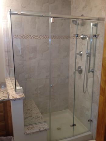 Custom Tile Shower with Bench and Custom Glass Door