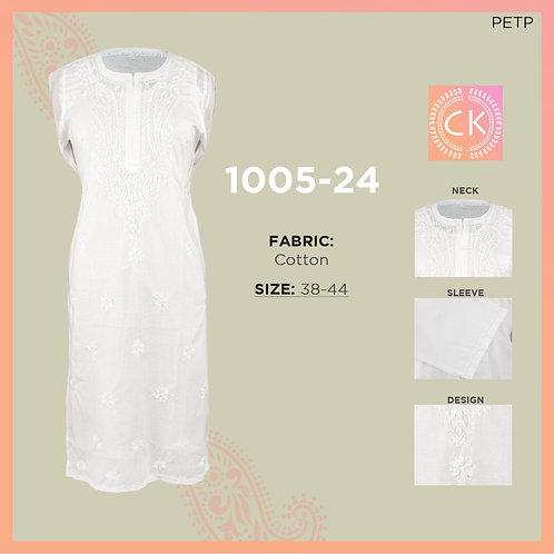 Top Long White  Cotton Chikan Kari 1005-24