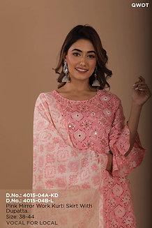 Pink mirror work kurti skirt with dupatta