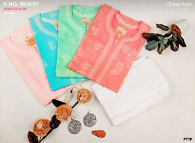 Jhar Design Chikan kari Kurti With Cotton fabric