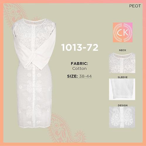 "Front Open L""L White Pe White Cotton Chikan Kari 1013-72"