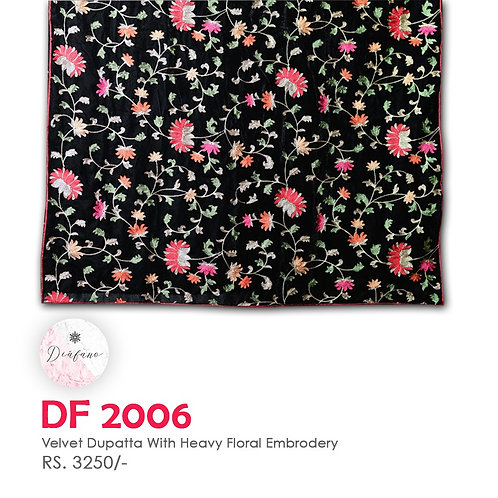 Velvet dupatta With HEAVY floral Embroidery DF 2006