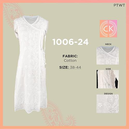 Angrakha Dori White pe White Cotton White Chikan Kari 1006-24