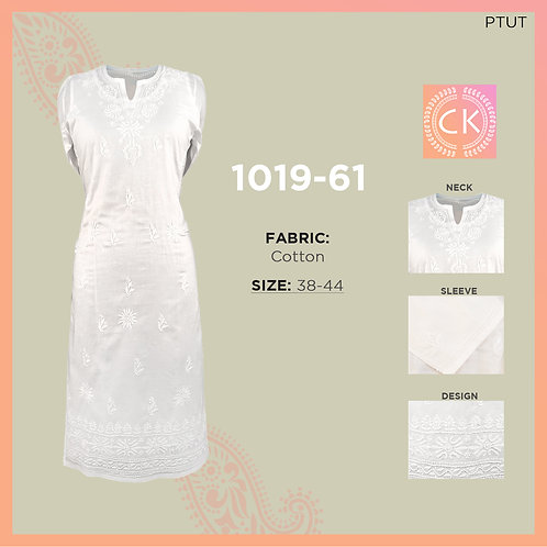 Kurti Tone White pe White Cotton Chikan Kari 1019-61