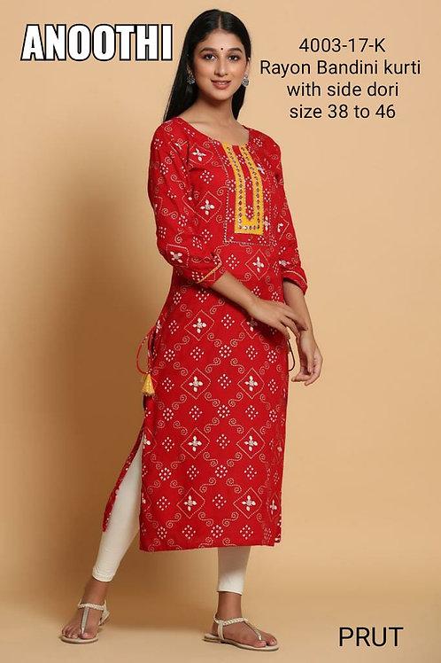 Rayon Bandini Kurti With Side Dori 4003-17-K