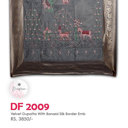 Velvet dupatta With Banarsi Silk Border Embroidery DF 2009