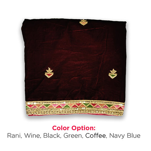 Velvet dupatta With buti Embroidery and Heavy Boarder DF 2012