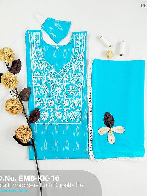 Ikat Embroidery Kurti Dupatta Set EMB-KK-16
