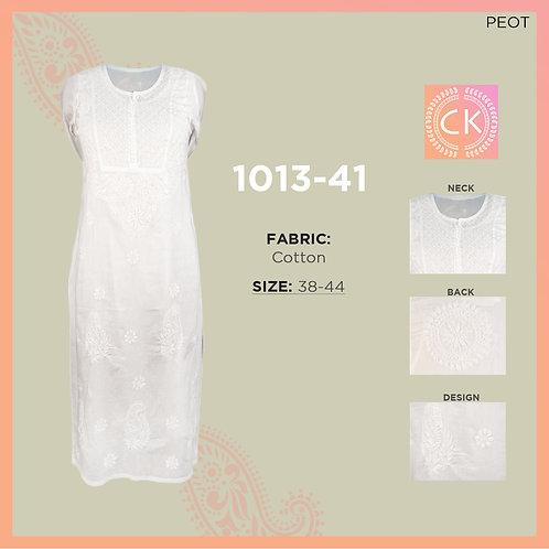 Yog Button Cotton White Chikan Kari 1013-41
