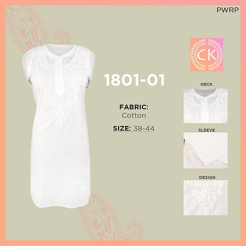 Short White Cotton Kurti 1801-01