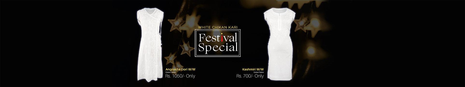 Festival Special White Chikan Kari Kurti