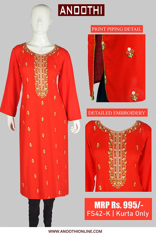 Anoothi kurti Print Piping Detailed With EMB. Kurti Only FS42-K