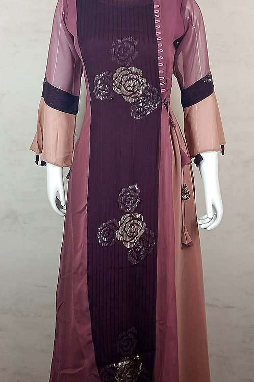 Wine GRT Sequence Long Kurti 3001-06-K