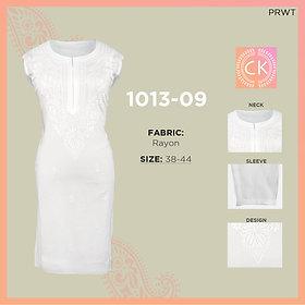 """Rayon L""""L White Pe White Chikan Kari 1013-09"""