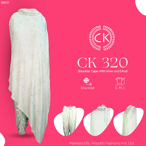 Shoulder Cape With Inner and Dhoti Viscose Fabric CK 320