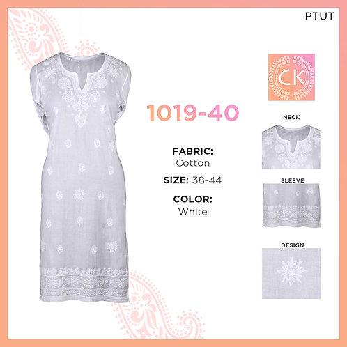 Ladies Cotton Kurti Tone white to white 1019-40
