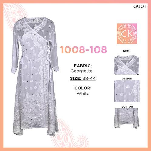 Anghrakah white pe white Georgette Chikan Kari 1008-108