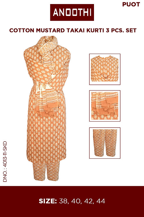 Cotton Mustard Takai Kurti 3 Pcs. Set 4013-11-SKD