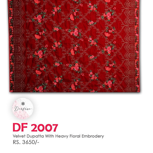 Velvet dupatta With HEAVY floral Embroidery DF 2007