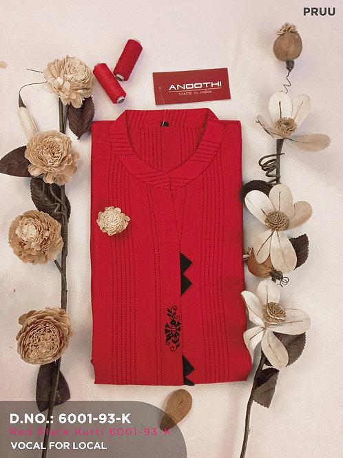 Red Black Kurti Only 6001-93-K