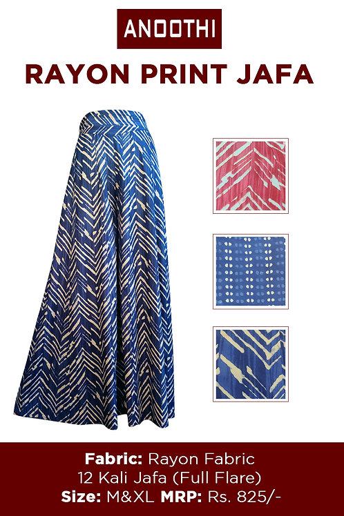 Rayon Print Jafa With Rayon Fabric 12 Kali jafa (Full Flare)